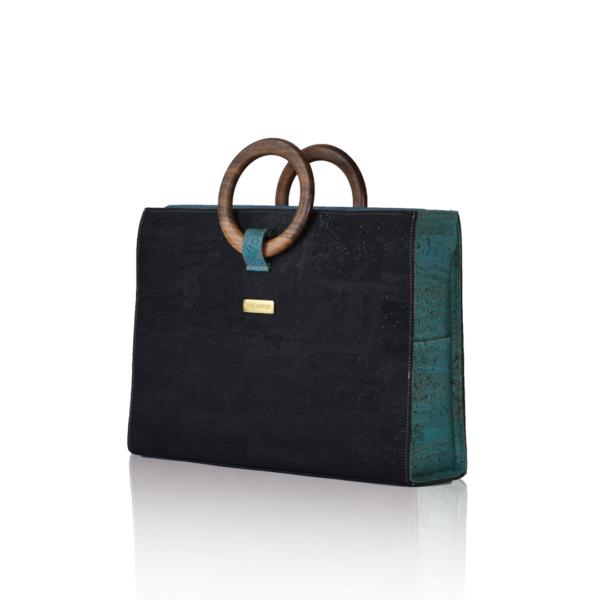Bossy business bag noir et vert, debout, vue de face sur fond blanc