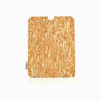 Vue de face complète avec fond blanc de housse tablette  fenouil et liège de couleur naturelle
