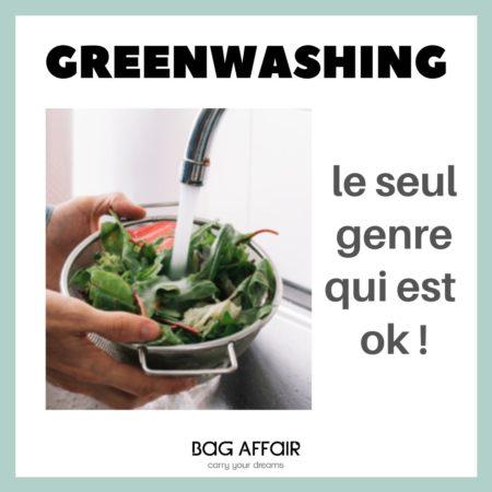 Photo montrant un bol de salade en train d'être lavée sous l'eau, titre: Greenwashing, le seul genre qui est ok