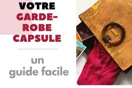 """Image avec le titre """" Créez votre garde-robe capsule – un guide facile """" montrant à côté un sac à main Bossy ouvert rempli de vêtements, de livres et autres"""